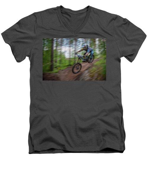 Downhill Race Men's V-Neck T-Shirt by Ari Salmela
