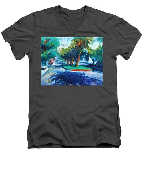 Downhill Men's V-Neck T-Shirt by Rick Nederlof