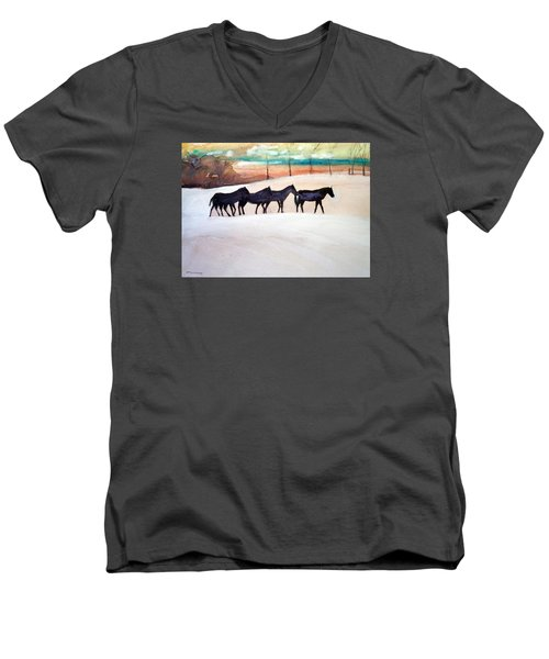 Men's V-Neck T-Shirt featuring the painting Downs Stables by Ed Heaton