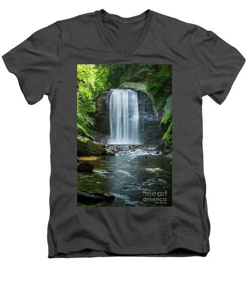 Men's V-Neck T-Shirt featuring the photograph Downstream Shade Looking Glass Falls Great Smoky Mountains Art by Reid Callaway