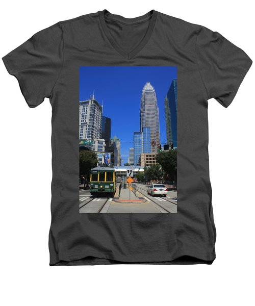 Downtown Charlotte Trolley 1  Men's V-Neck T-Shirt