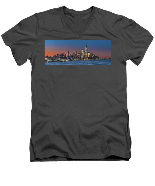 Downtown And Freedom Tower Men's V-Neck T-Shirt