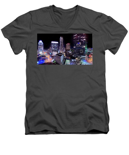 Downtown Atx Men's V-Neck T-Shirt by Andrew Nourse