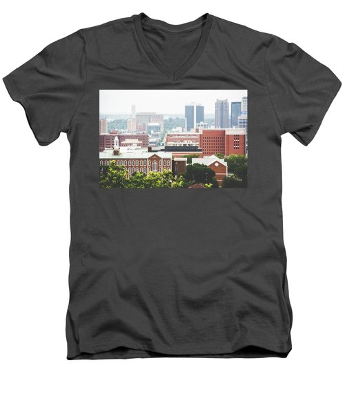 Men's V-Neck T-Shirt featuring the photograph Downtown Birmingham - The Magic City by Shelby Young