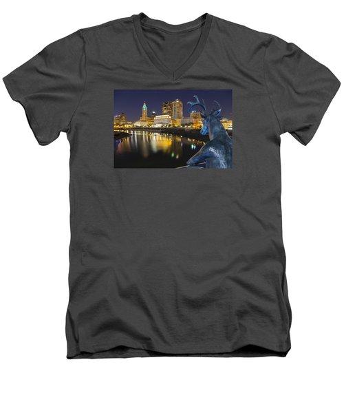 Downtown Deer View Columbus Men's V-Neck T-Shirt by Alan Raasch