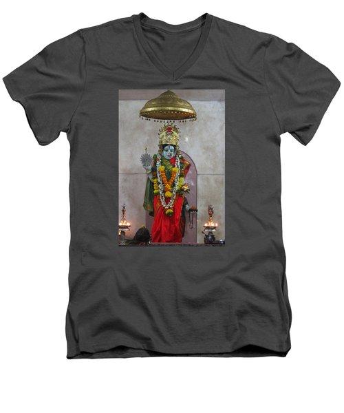 Downtown Ganeshpuri Durga Temple Men's V-Neck T-Shirt by Jennifer Mazzucco