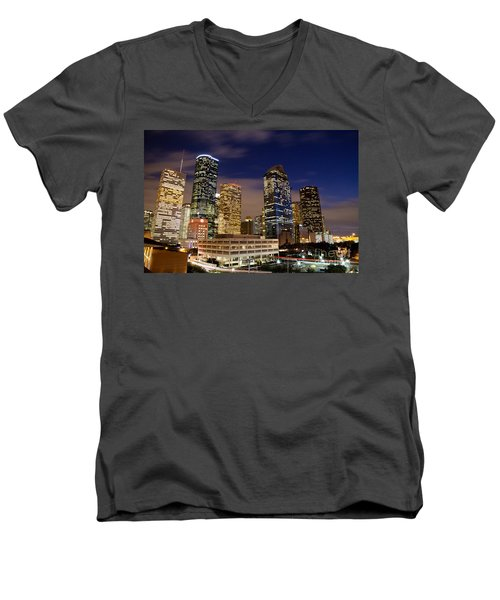 Downtown Houston At Night Men's V-Neck T-Shirt