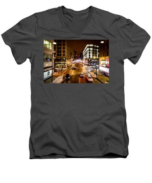 Downtown In The Itty-bitty City Men's V-Neck T-Shirt