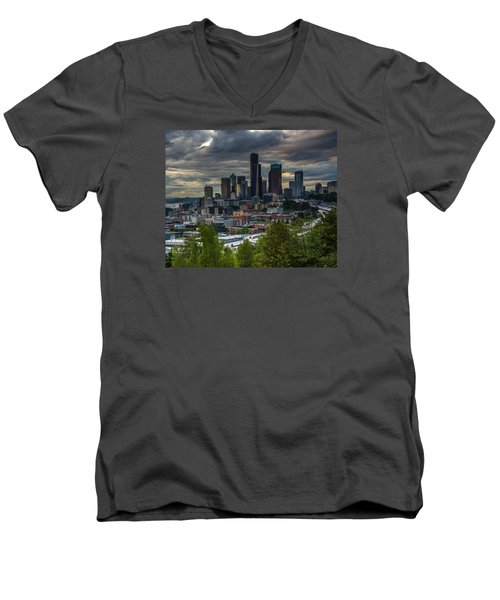 Men's V-Neck T-Shirt featuring the photograph Downtown by Jerry Cahill