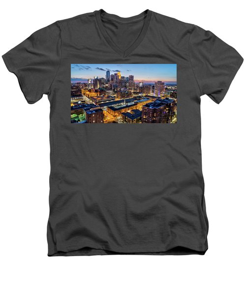 Downtown Minneapolis At Dusk Men's V-Neck T-Shirt