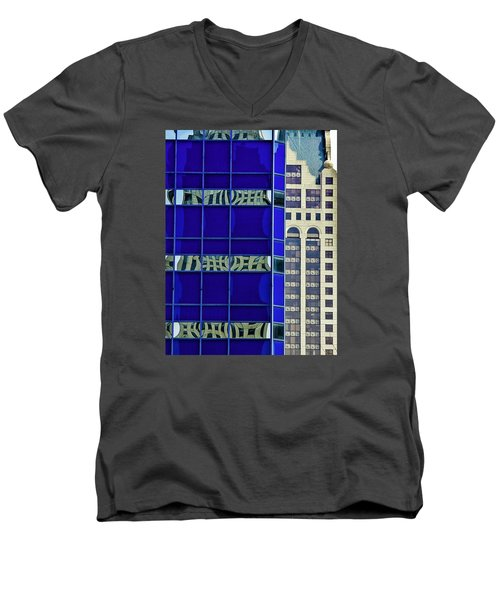 Downtown Mke Men's V-Neck T-Shirt by Michael Nowotny