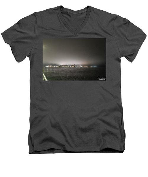 Downtown Oc Skyline Men's V-Neck T-Shirt