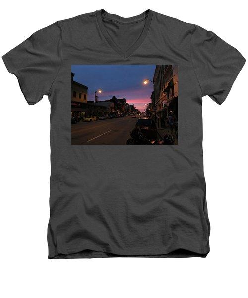 Men's V-Neck T-Shirt featuring the photograph Downtown Racine At Dusk by Mark Czerniec