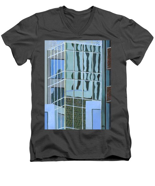 Downtown Reflections Men's V-Neck T-Shirt by Alika Kumar