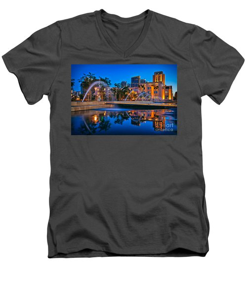 Downtown San Diego Waterfront Park Men's V-Neck T-Shirt by Sam Antonio Photography