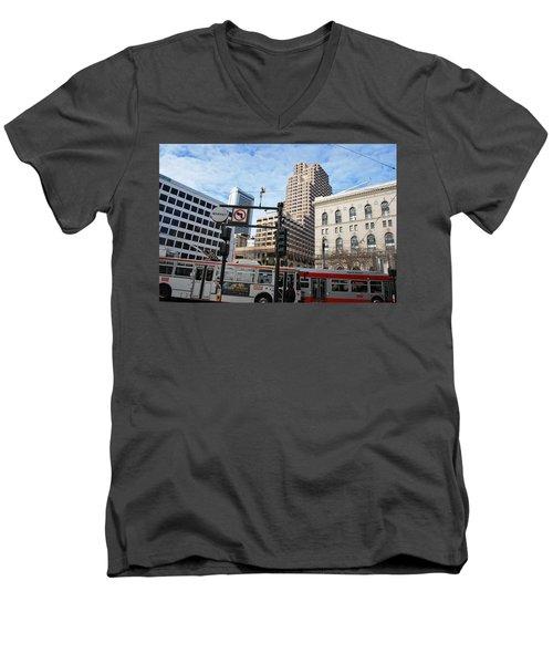 Downtown San Francisco - Market Street Buses Men's V-Neck T-Shirt by Matt Harang