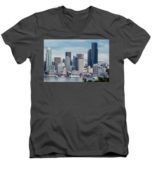 Downtown Seattle And Ferries Men's V-Neck T-Shirt