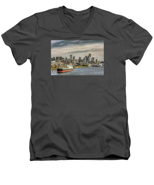 Downtown Seattle Men's V-Neck T-Shirt by Lewis Mann