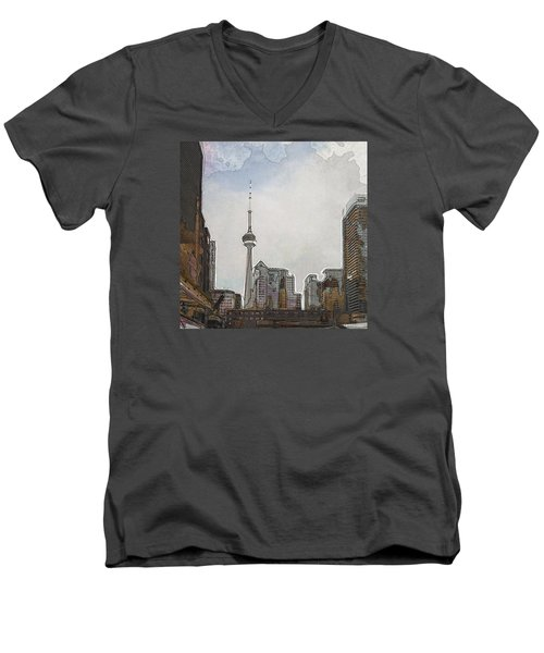 Downtown Toronto In Color Men's V-Neck T-Shirt