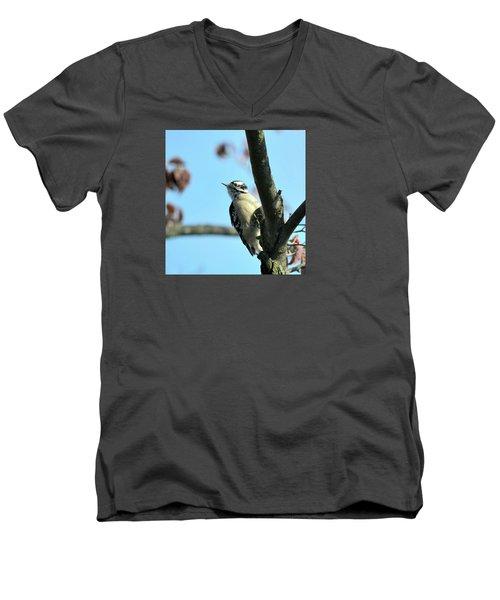 Downy Woodpecker Men's V-Neck T-Shirt by Kathy Eickenberg