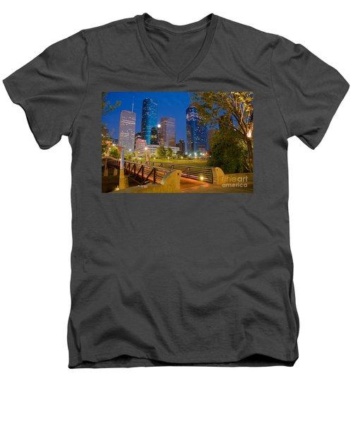 Dowtown Houston By Night Men's V-Neck T-Shirt