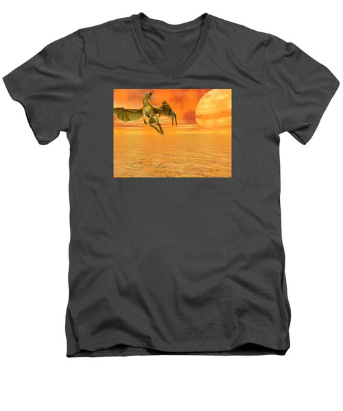 Dragon Against The Orange Sky Men's V-Neck T-Shirt