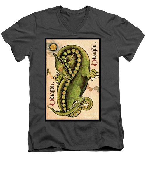 Men's V-Neck T-Shirt featuring the painting Dragon Dragon by Lora Serra