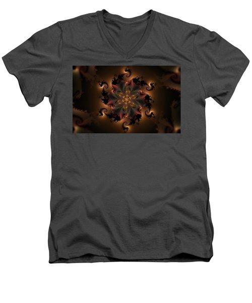 Dragon Flower Men's V-Neck T-Shirt by GJ Blackman