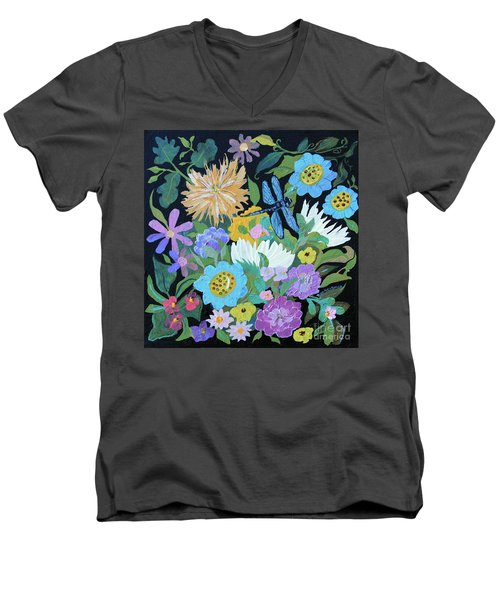Men's V-Neck T-Shirt featuring the painting Dragonfly And Flowers by Robin Maria Pedrero