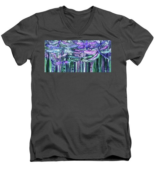 Men's V-Neck T-Shirt featuring the mixed media Dragonfly Bloomies 4 - Lavender Teal by Carol Cavalaris