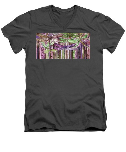 Men's V-Neck T-Shirt featuring the mixed media Dragonfly Bloomies 4 - Pink by Carol Cavalaris
