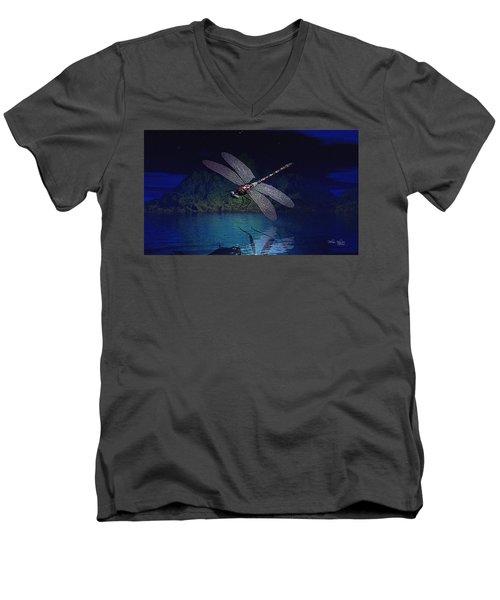 Dragonfly Night Reflections Men's V-Neck T-Shirt