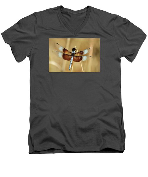 Men's V-Neck T-Shirt featuring the photograph Dragonfly On Reed by Sheila Brown