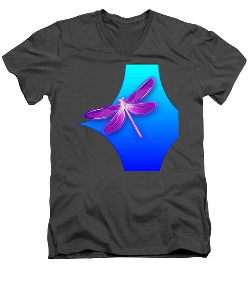 Dragonfly Pink On Blue Men's V-Neck T-Shirt
