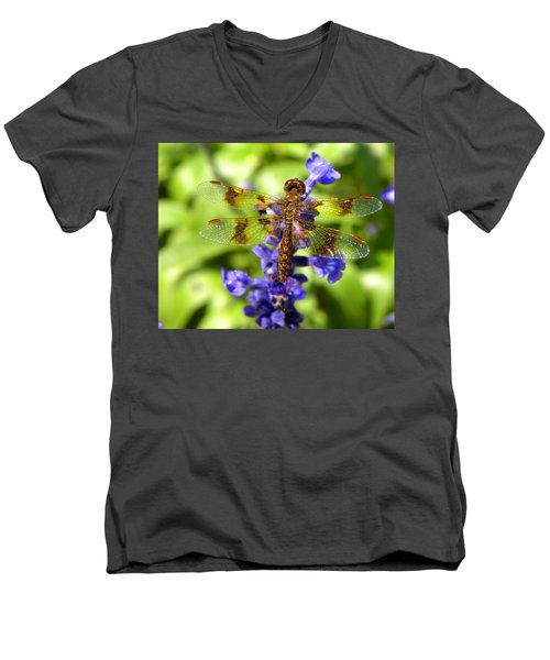 Men's V-Neck T-Shirt featuring the photograph Dragonfly by Sandi OReilly