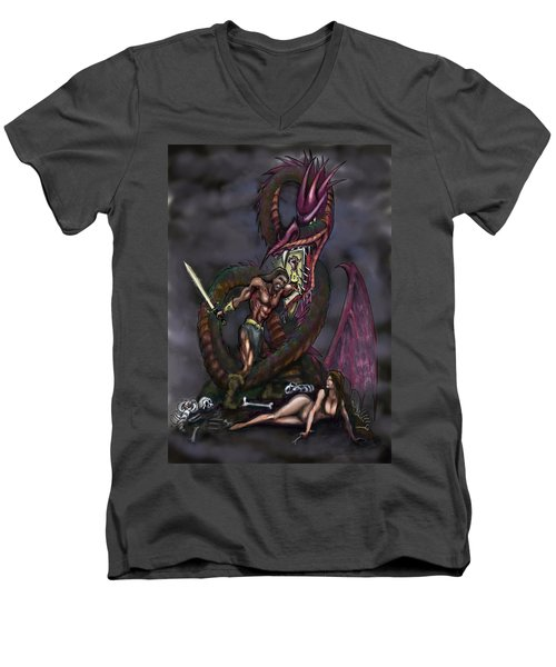 Men's V-Neck T-Shirt featuring the painting Dragonslayer by Kevin Middleton