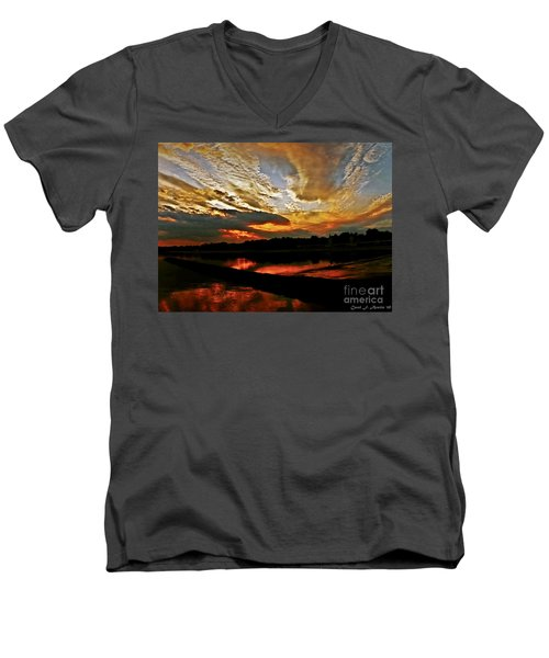 Drama In The Sky At The Sunset Hour Men's V-Neck T-Shirt by Carol F Austin