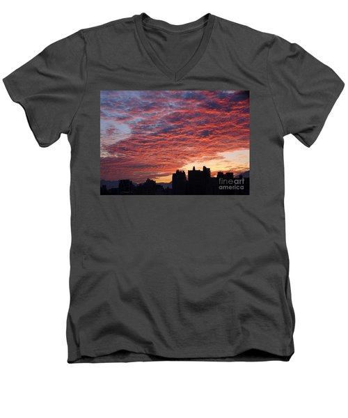 Men's V-Neck T-Shirt featuring the photograph Dramatic City Sunrise by Yali Shi