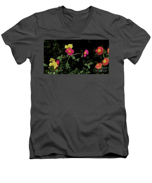 Dramatic Colorful Flowers Men's V-Neck T-Shirt