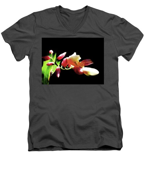Dramatic Oriental Orchid Men's V-Neck T-Shirt by Tina M Wenger