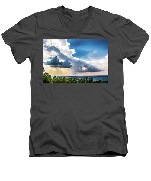Men's V-Neck T-Shirt featuring the photograph Dramatic Sunrays Over The Valley by Shelby Young