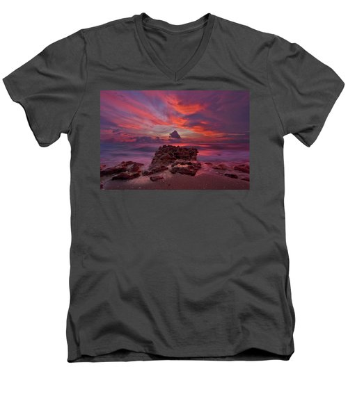 Dramatic Sunrise Over Coral Cove Beach In Jupiter Florida Men's V-Neck T-Shirt by Justin Kelefas