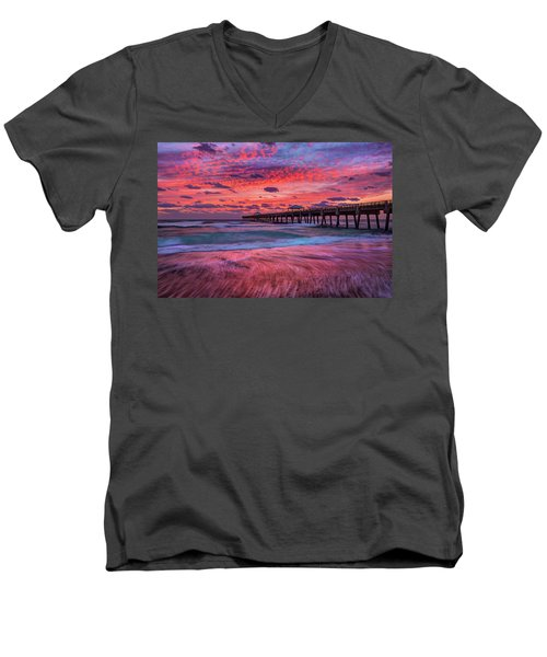 Dramatic Sunrise Over Juno Beach Pier, Florida Men's V-Neck T-Shirt