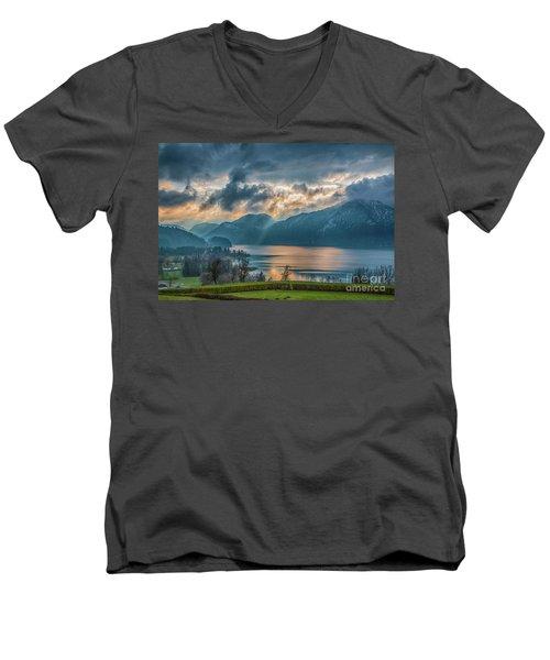 Dramatic Sunset Over Mondsee, Upper Austria Men's V-Neck T-Shirt by Jivko Nakev