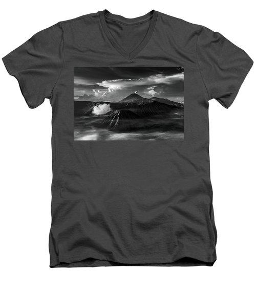 Dramatic View Of Mount Bromo Men's V-Neck T-Shirt