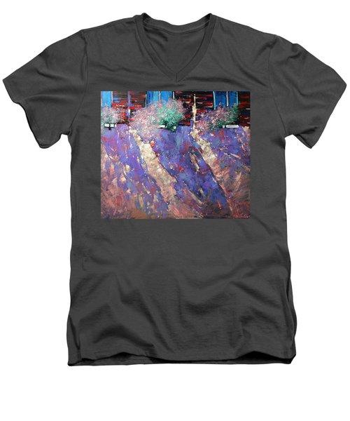 Men's V-Neck T-Shirt featuring the painting Drawn Sun. by Anastasija Kraineva