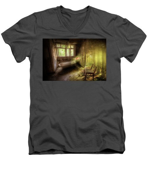 Men's V-Neck T-Shirt featuring the digital art Dream Bathtime by Nathan Wright