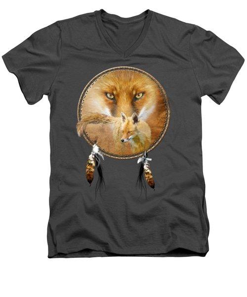 Dream Catcher- Spirit Of The Red Fox Men's V-Neck T-Shirt