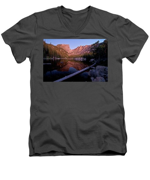 Men's V-Neck T-Shirt featuring the photograph Dream Lake by Gary Lengyel