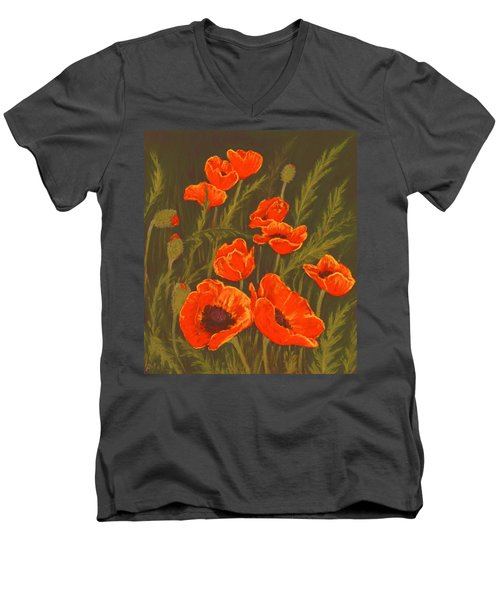 Men's V-Neck T-Shirt featuring the painting Dream Of Poppies by Anastasiya Malakhova